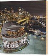 Seattle City Skyline And Marina At Night Wood Print