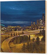 Seattle City Skyline At Blue Hour Wood Print