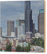 Seattle City Skyline At Rush Hour Wood Print