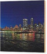 Seattle City Skyline Romance Panorama Wood Print