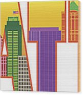 Seattle City Skyline Text Outline Color Illustration Wood Print