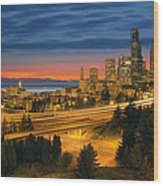 Seattle Cityscape After Sunset Wood Print
