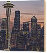 Seattle Cityscape Morning Light Wood Print