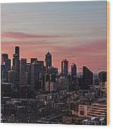 Seattle Cityscape Sunrise Wood Print