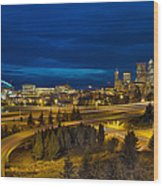 Seattle Downtown Skyline And Freeway At Twilight Wood Print
