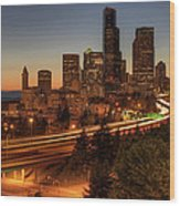 Seattle Downtown Skyline At Dusk Wood Print