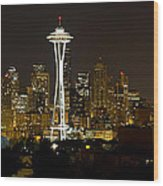Seattle Downtown Skyline Evening Panorama Wood Print