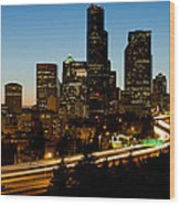 Seattle Downtown Skyline Evening View Wood Print