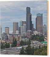 Seattle Downtown Skyline On A Cloudy Day Wood Print