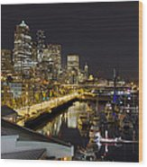 Seattle Downtown Skyline Waterfront Marina Wood Print