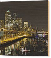 Seattle Downtown Waterfront Skyline At Night Reflection Wood Print