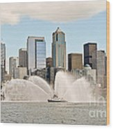 Seattle Downtown With Fireboat Wood Print