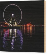 Seattle Ferris Wheel  Wood Print