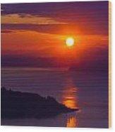 Seattle Fiery Sunset Wood Print