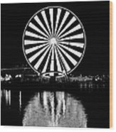 Seattle Great Wheel Black And White Wood Print