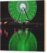 Seattle Great Wheel In Motion Wood Print