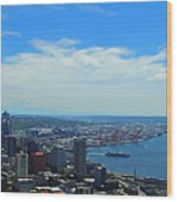 Seattle Harbor And Mt Rainier From Space Needle Wood Print
