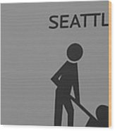 Seattle In Black And White Wood Print