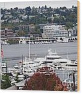 Seattle Marina Wood Print