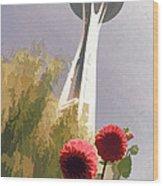 Seattle Needle One Wood Print