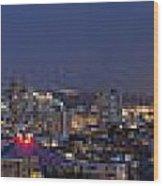 Seattle Night Skyline Wood Print
