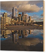 Seattle Pier Sunset Clouds Wood Print