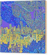 Seattle Skyline Abstract 6 Wood Print