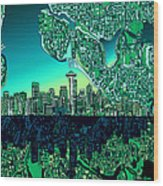 Seattle Skyline Abstract Wood Print