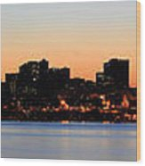 Seattle Skyline And Puget Sound At Sunrise Wood Print