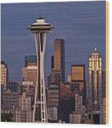 Seattle Skyline And Space Needle With City Lights Wood Print