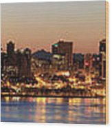 Seattle Skyline At Dawn Along Puget Sound Wood Print