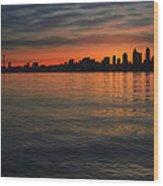 Seattle Skyline At Dawn Wood Print