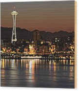 Seattle Skyline At Night By The Pier Panorama Wood Print
