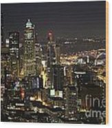 Seattle Skyline At Night Wood Print