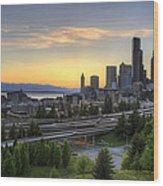 Seattle Skyline At Sunset Wood Print