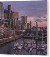 Seattle Skyline Bell Harbor Dusk Wood Print