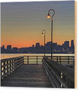 Seattle Skyline From The Pier At Sunrise Wood Print