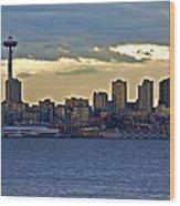 Seattle Skyline In Twilight Wood Print