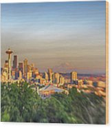 Seattle Skyline Lens Baby Hdr Wood Print