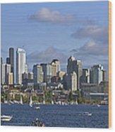 Seattle Skyline On Lake Union Wood Print