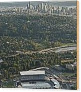 Seattle Skyline With Aerial View Of The Newly Renovated Husky St Wood Print