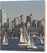 Seattle Skyline With Sailboats Wood Print
