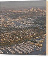 Seattle Skyline With Shilshole Marina Along The Puget Sound  Wood Print