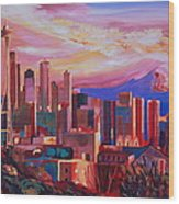 Seattle Skyline With Space Needle And Mt Rainier Wood Print
