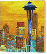 Seattle Space Needle 20130115v2 Wood Print by Wingsdomain Art and Photography