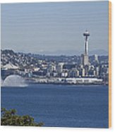 Seattle Space Needle And Fire Boat Wood Print