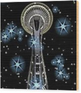 Seattle Space Needle Blue Stars Wood Print