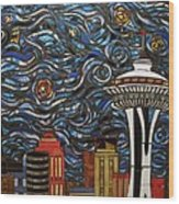 Seattle Starry Night Wood Print