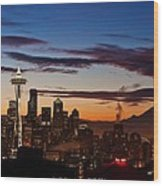 Seattle Sunrise Wood Print