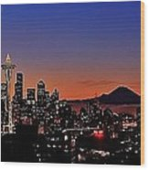 Seattle Sunrise Panorama Wood Print